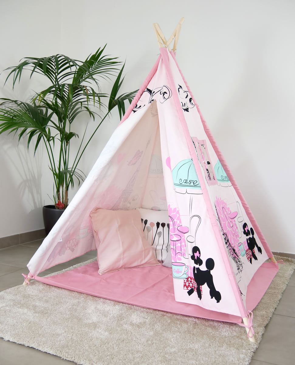 tipi rose en bois et coton sur le th me de paris. Black Bedroom Furniture Sets. Home Design Ideas
